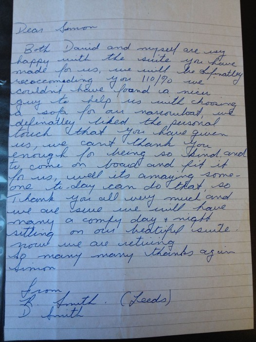 A hand written testimonial form a narrow boat customer